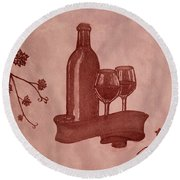 Enjoying Red Wine  Painting With Red Wine Round Beach Towel