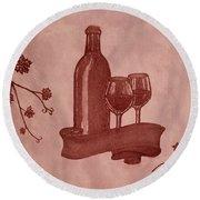 Enjoying Red Wine  Painting With Red Wine Round Beach Towel by Georgeta  Blanaru