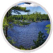 Enjoying The Lake Round Beach Towel