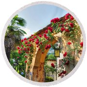 Entrance Arch With Flowers Round Beach Towel
