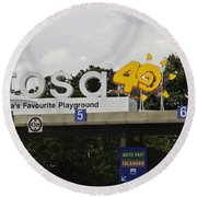 Entrance Gate For Sentosa Island In Singapore Round Beach Towel