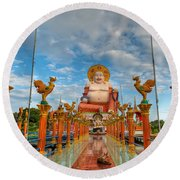 Entrance To Buddha Round Beach Towel