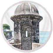 Entrance To Sentry Tower Castillo San Felipe Del Morro Fortress San Juan Puerto Rico Colored Pencil Round Beach Towel by Shawn O'Brien