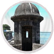 Entrance To Sentry Tower Castillo San Felipe Del Morro Fortress San Juan Puerto Rico Poster Edges Round Beach Towel by Shawn O'Brien