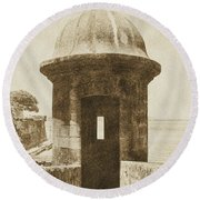 Entrance To Sentry Tower Castillo San Felipe Del Morro Fortress San Juan Puerto Rico Vintage Round Beach Towel