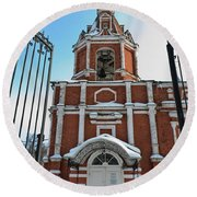 Entrance To The Church Round Beach Towel