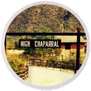 Entrance To The High Chaparral Ranch Round Beach Towel
