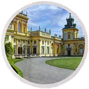 Entrance To Wilanow Palace - Warsaw Round Beach Towel