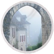 Entryway To St Cirq In The Fog Round Beach Towel