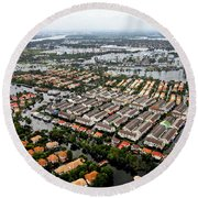 Erial View Of Flood Waters Affecting An Round Beach Towel
