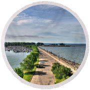 Erie Basin Marina Summer Series 0001 Round Beach Towel