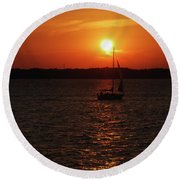 Erie Basin Sunset 3579 Round Beach Towel