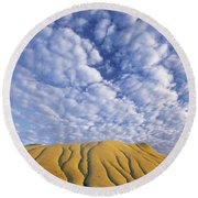 Erosion Channels On Rock, Red Deer Round Beach Towel