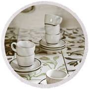 Espresso Cups Round Beach Towel