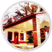 Esso Filling Station Round Beach Towel