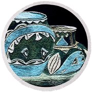Etched Pottery Round Beach Towel