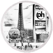 Etched Vegas Round Beach Towel
