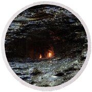 Eternal Flame Reflections Round Beach Towel