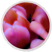 Ethereal Pink Tulips Round Beach Towel