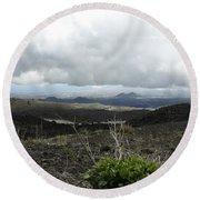 Etna's Landscape Round Beach Towel
