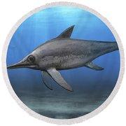 Eurhinosaurus Longirostris Swimming Round Beach Towel