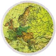 Europe Map Of 1911 Round Beach Towel