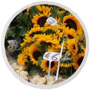 European Markets - Sunflowers And Roses Round Beach Towel