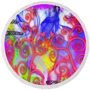 Even In Chaos Find Love Round Beach Towel