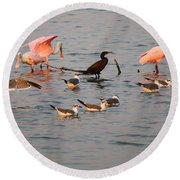 Evening Activity In The Bay Round Beach Towel