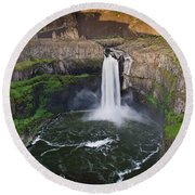 Evening At Palouse Falls Round Beach Towel