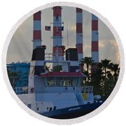 Evening At The Broward Round Beach Towel