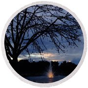 Evening Falls On Youth's Fountain Round Beach Towel