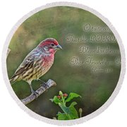 Evening Finch Greeting Card With Verse Round Beach Towel