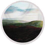 Evening Landscape Towards Llangollen Round Beach Towel