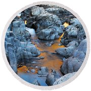 Evening Light On The Black River At Johnsons Shut Ins State Park IIi Round Beach Towel by Greg Matchick