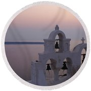 Santorini Greece Evening Light  Round Beach Towel