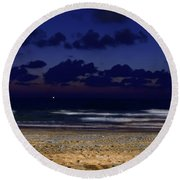 Evening On The Beach Round Beach Towel