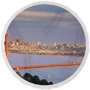Evening Over San Francisco Round Beach Towel
