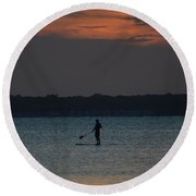 Evening Paddleboarder Round Beach Towel