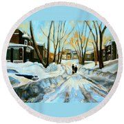 Evening Winter Walk Streets Of Montreal After The Snowstorm Round Beach Towel