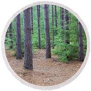 Evergreen Forest Round Beach Towel