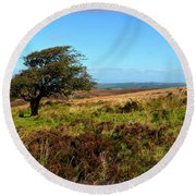 Exmoor's Heather-covered Hills Round Beach Towel