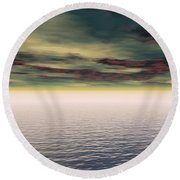 Expanse Of Water And Sky Round Beach Towel