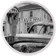 Expired A Black And White Photograph Of A Tavern Parking Meters And Vintage Junk Auto Round Beach Towel
