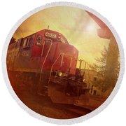 Express Train Round Beach Towel by Joel Witmeyer