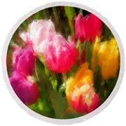 Expressionistic Spring Tulip Explosion Round Beach Towel