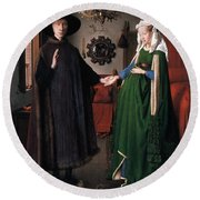 Eyck: Arnolfini Marriage Round Beach Towel