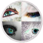 Eye Art Collage Round Beach Towel