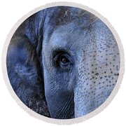 Eye Of The Elephant Round Beach Towel