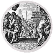 Eye Surgery, Historical Engraving Round Beach Towel